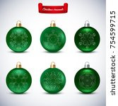 collection of green christmas... | Shutterstock .eps vector #754599715
