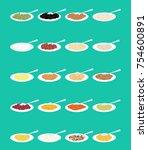 porridge in plate and spoon set.... | Shutterstock .eps vector #754600891