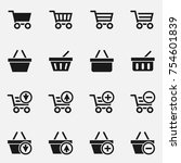 set of shopping cart and basket ... | Shutterstock .eps vector #754601839