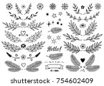 set of hand drawn branches with ... | Shutterstock .eps vector #754602409