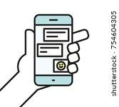 hand holding smartphone... | Shutterstock .eps vector #754604305
