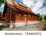 wat sen  luang prabang also... | Shutterstock . vector #754604551
