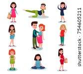 pregnant women characters in...   Shutterstock .eps vector #754605211