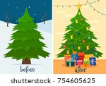 christmas tree before and after ... | Shutterstock .eps vector #754605625