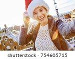 winter wonderland in barcelona... | Shutterstock . vector #754605715