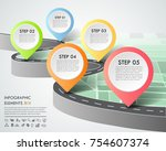 road way infographic template 5 ... | Shutterstock .eps vector #754607374