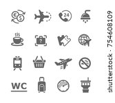 airport icons set   Shutterstock .eps vector #754608109