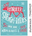 old fashioned reindeer sleigh... | Shutterstock .eps vector #754609429