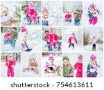 collage children winter photo....   Shutterstock . vector #754613611