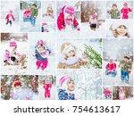 collage children winter photo....   Shutterstock . vector #754613617