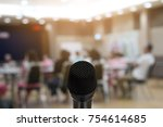 microphone over the abstract... | Shutterstock . vector #754614685