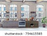 attic loft kitchen interior. 3d ... | Shutterstock . vector #754615585