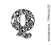 decorative handmade font.... | Shutterstock .eps vector #754616125