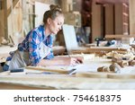 side view portrait of young...   Shutterstock . vector #754618375