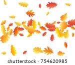 oak leaves flying confetti... | Shutterstock .eps vector #754620985