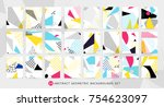 colorful pop art geometric... | Shutterstock .eps vector #754623097
