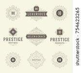 luxury logos templates set ... | Shutterstock .eps vector #754623265