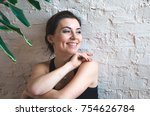 portrait of happy fitness young ... | Shutterstock . vector #754626784