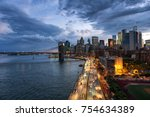 new york  usa. aerial view on... | Shutterstock . vector #754634389
