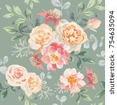 pink roses and peonies with... | Shutterstock .eps vector #754635094