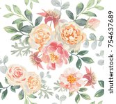 pink roses and peonies with... | Shutterstock .eps vector #754637689