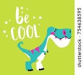 dinosaur card cartoon... | Shutterstock .eps vector #754638595