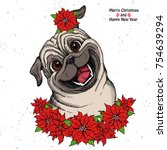 Stock vector hand drawn dog cute pug head and christmas flowers red poinsettia isolated 754639294