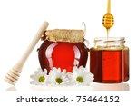 jars of honey and dipper... | Shutterstock . vector #75464152