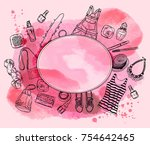 watercolor background with... | Shutterstock .eps vector #754642465