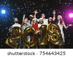 new 2018 year is coming  group... | Shutterstock . vector #754643425