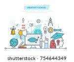 creative school. training ... | Shutterstock .eps vector #754644349