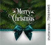 merry christmas greeting card | Shutterstock .eps vector #754644445