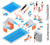 isometric swimming pool set of... | Shutterstock .eps vector #754650859