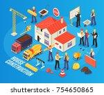 isometric building background... | Shutterstock .eps vector #754650865
