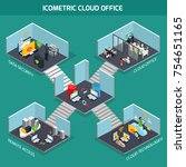 cloud office isometric... | Shutterstock .eps vector #754651165