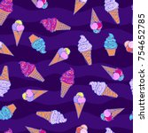seamless summer pattern with... | Shutterstock .eps vector #754652785