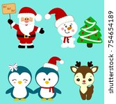 christmas icons. collection.... | Shutterstock .eps vector #754654189
