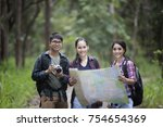 asian group of young people... | Shutterstock . vector #754654369