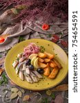 appetizer salted herring with...