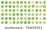 vector set. trees top view.... | Shutterstock .eps vector #754655251