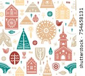 vector seamless pattern in... | Shutterstock .eps vector #754658131