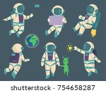 vector astronauts in space ... | Shutterstock .eps vector #754658287
