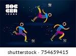 set of vector color line soccer