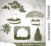Set Of Doodle Trees  Vector...