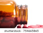 red pink tablet inside the... | Shutterstock . vector #754665865