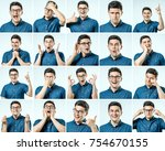 set of young man's portraits... | Shutterstock . vector #754670155