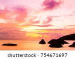 setting into the sea burning... | Shutterstock . vector #754671697