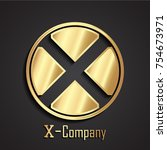 3d x letter circle golden logo | Shutterstock .eps vector #754673971