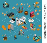 blockchain ico isometric... | Shutterstock .eps vector #754674124