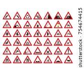 warning sign symbol. set design ... | Shutterstock .eps vector #754674415